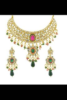 Picture of Pink & green color kundan work necklace set
