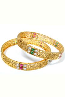 Picture of Delicately worked pink & green color bangles