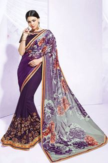 Picture of Astounding violet & grey printed saree