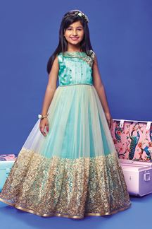 Picture of Blue and Cream fairytale gown