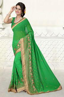 Picture of Bright green georgette saree with zari