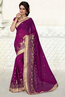Picture of Exquisite violet saree in georgette