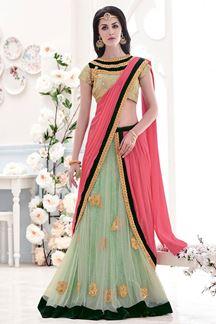 Picture of Alluring Pink & green lehenga saree