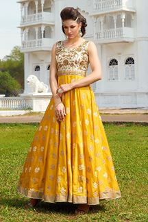 Picture of Aesthetic mustard yellow suit with zardosi work