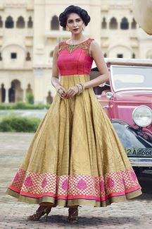 Picture of Upstyle pink & gold anarkali suit