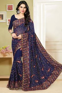 Picture of Rich resham worked saree in deep blue