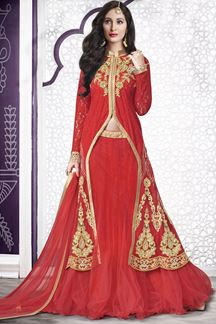 Picture of Vibrant red lehenga with zari & kundan