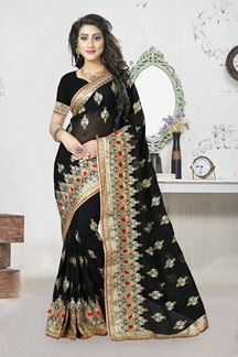 Picture of Classy black georgette saree with zari
