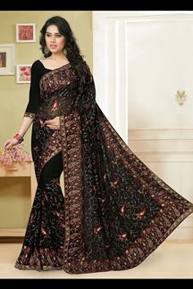 Picture of Magnificent black saree with resham