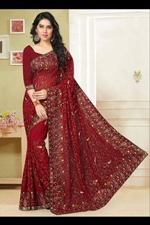 Picture of Graceful red georgette saree with resham