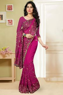 Picture of Timeless pink saree with resham & zari
