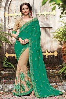 Picture of Fabulous green & beige half & half saree