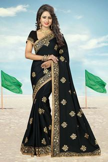 Picture of Timeless black designer saree with zari