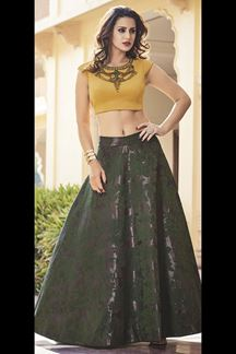 Picture of Yellow & violet shimmering lehenga set