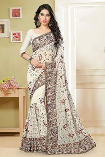 Picture of Ravishing white designer saree with resham work