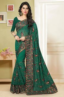 Picture of Gorgeous rama color saree with resham