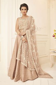 Picture of Fabulous nude designer suit with resham