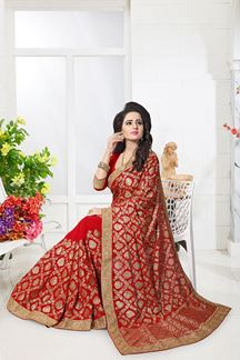 Picture of Sparkling red designer saree with zari