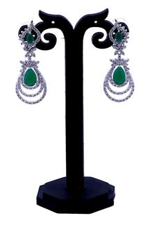 Picture of Appealing green stone studded earrings