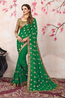 Picture of Appealing green designer saree