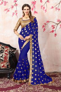 Picture of Fabulous royal blue designer sheer saree