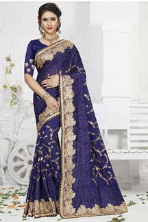 Picture of Distinctive blue designer saree with zari