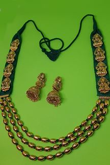 Picture of Long kumkum green temple necklace set