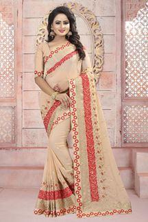 Picture of Pastel peach designer saree with resham