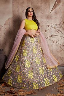 Picture of Glamorous yellow and pink designer lehenga choli set